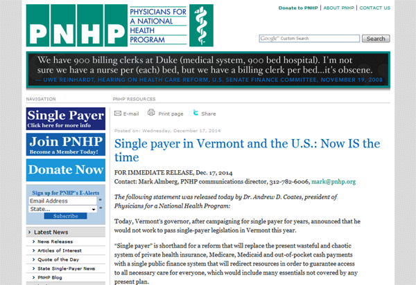Single payer in Vermont and the U.S.: Now IS the Time - Physicians for a National Health Program